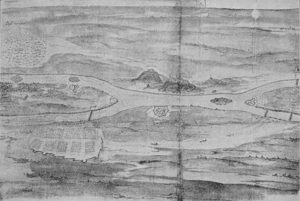 Pest és Buda látképe a Rákosmező felől 1603-ban.