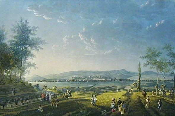 Pest és Buda fővárasoknak képe Rákos mezejéről véve