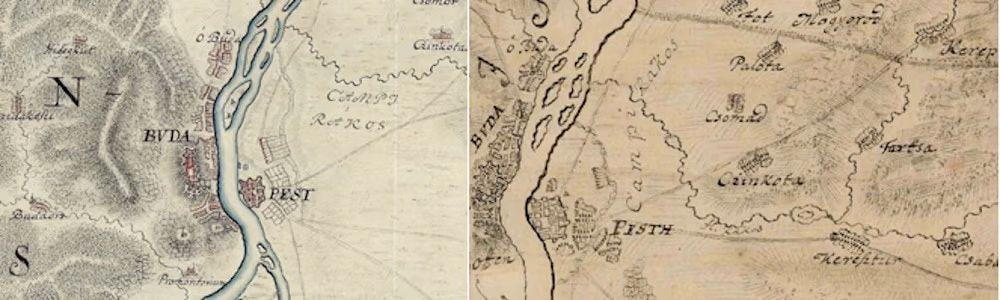 A Rákosmező Mikoviny Sámuel térképein 1732-ből és 1737-ből