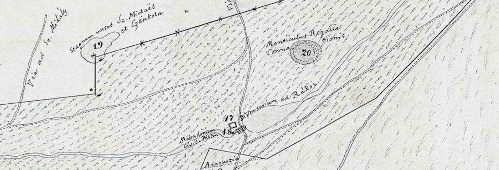 """A Királydomb, mint """"Monticulus Regalis coronationis"""" egy 1764-es térképen."""