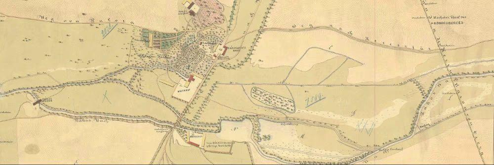 """A térkép jobb felső sarkában olvasható """"Höchster Theil des Königsberges"""", azaz a Királyhegy legmagasabb része 1827-ben."""